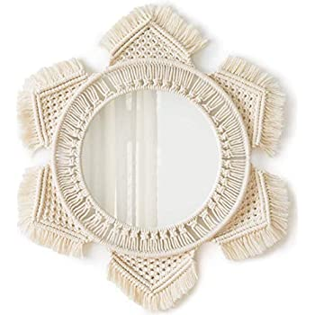 Mkouo Wall Mirror Small Octagonal Hanging Mirror Macrame