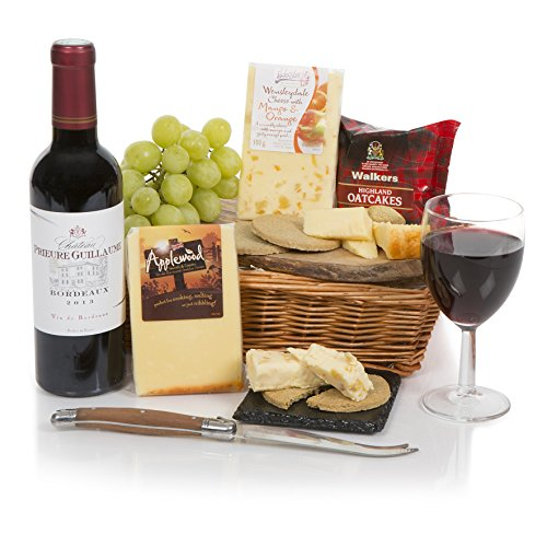Christmas Wine & Cheese Hamper - Food Hampers and Gift Baskets with Cheese - Red Wine Gift Hampers - Free Express Delivery