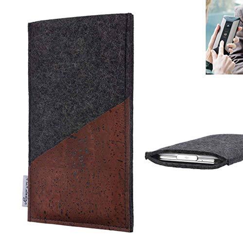 flat.design Handy Hülle Evora für Planet Computers Cosmo Communicator handgefertigte Handytasche Kork Filz Tasche Case fair dunkelgrau