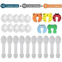 XiDe Kits de Seguridad para Bebé Niños 10 x Cierres de Seguridad Armario y Cajones 10 x Protector de Esquinas y Bordes 5 x Tope de Puerta Protector Dedos Prueba Infantil Puerta Mueble Cajón Seguridad