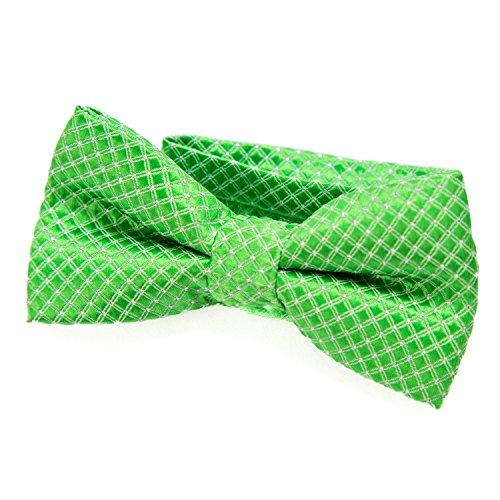 DonDon Edle Kinder Jungen Fliege gebunden und längenverstellbar 9 x 4,5 cm hellgrün glänzend mit silbernen Punkten (Grün Jungen Fliege)