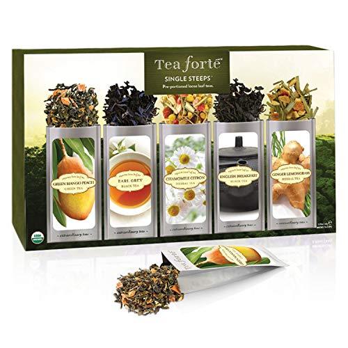 Tea forté single steeps campionario classico di tè in foglie, 15 varietà in bustine monoporzione - tè verde, tè alle erbe, tè nero