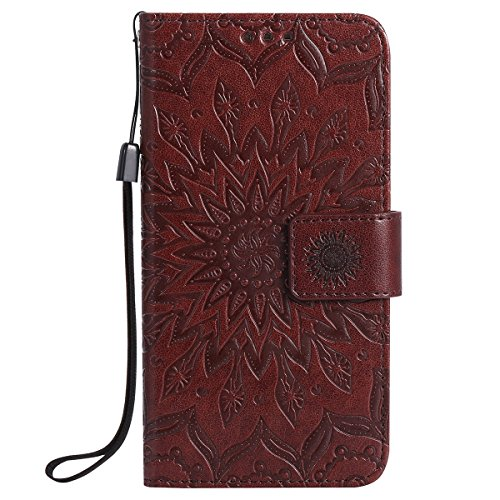Felfy Coque Etui pour Samsung Galaxy S7,Galaxy S7 Coque Dragonne Portefeuille PU Cuir Etui,Galaxy S7 Etui Cuir Folio Housse Brun Tournesol 3D en Relief Motif Leather Case Wallet Flip Protective Cover  Tournesol Brun
