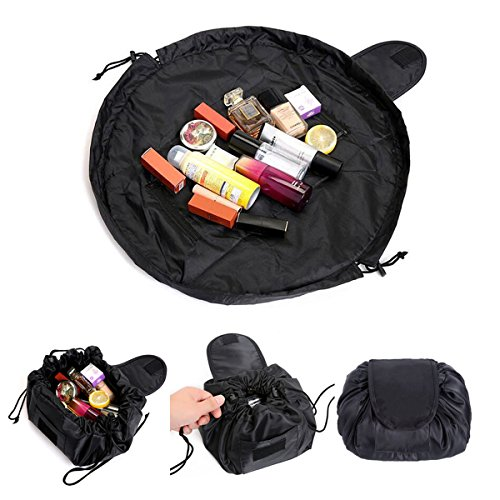 Kosmetiktasche, ONEGenug Schminktasche, One-Step Organizer MakeUp Tasche Kosmetikbeutel für Lazy Damen schwarz (Handtasche Große Drawstring)