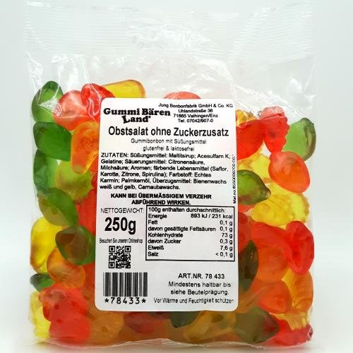"Maltit-Gummibonbons ""Obstsalat"" ohne Zuckerzusatz, 250g"