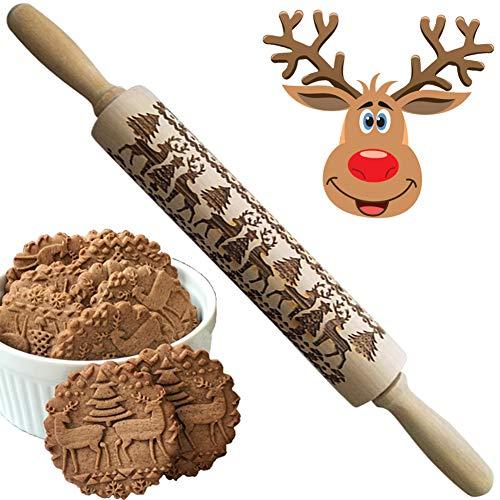 WillMall Rodillos Madera Navidad 3D Hornear, Rodillo