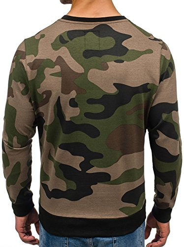 BOLF Herren Sweatshirt Langarmshirt Pullover Sweatjacke Pulli Camo Mix 1A1 Motiv Khaki_0741