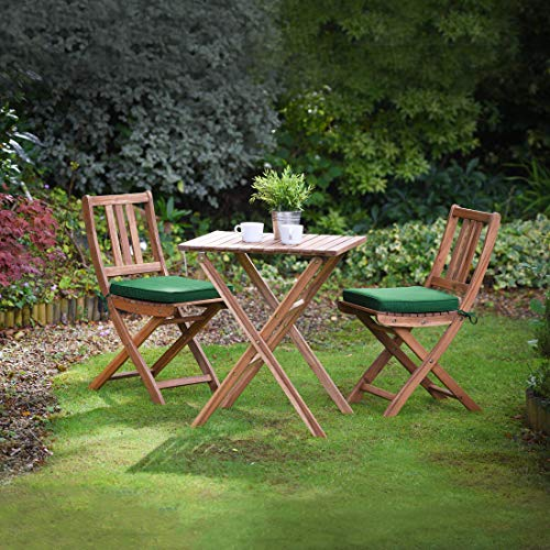 Plant Theatre Folding Hardwood Patio Bistro Set - Fully Assembled