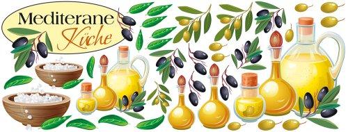 Graz Design 771043_150x57 Wandsticker Set Küche Mediterrane Küche mit Oliven und Ölen