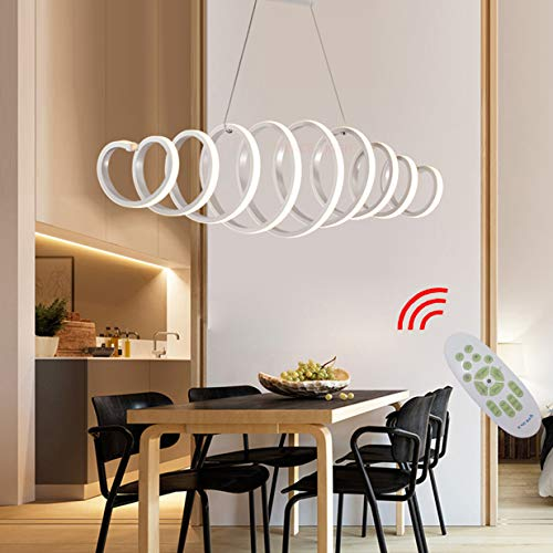 Baldachin Höhenverstellbare Leuchte (LED Esstisch Esszimmer-lampe Dimmbar Pendelleuchte Modern Frühling Design Hängelampe Chic Acryl Metall Fernbedienung Decke Leuchten für Wohnzimmer Schlafzimmer Küche Couchtisch Bar Dekor Lampen L100cm)