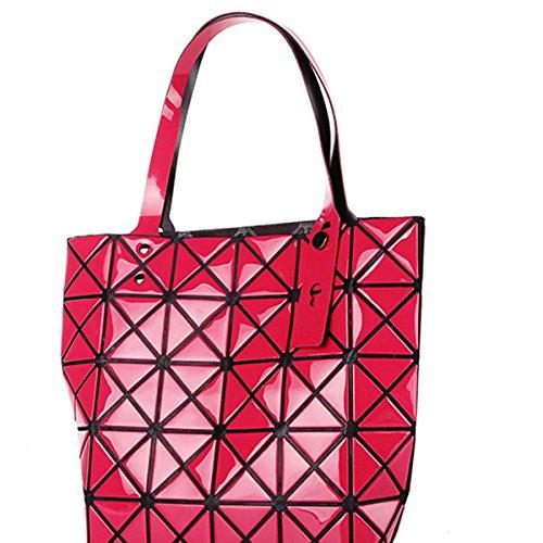 Für Frauen Checkered Tragetasche PU Leder Geometric Diamant Split Joint Red