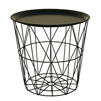 Modern Black Small Wire Side Table Metal Coffee End Side Table With - Lift Off Tray Top Brand change to:Sifcon