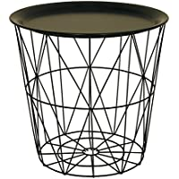 Tables living room furniture home kitchen coffee tables end modern black small wire side table metal coffee end side table with lift off tray greentooth Images