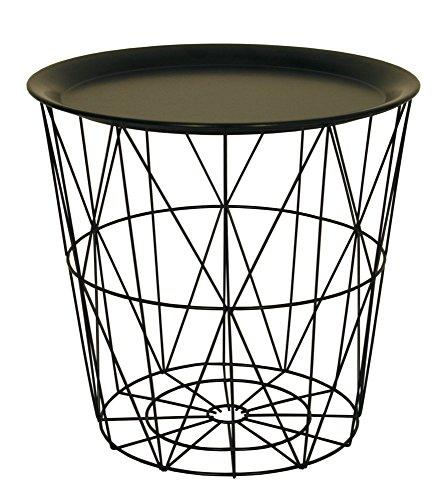 con vassoio di metallo nero Piccolo tavolino nero in ferro che funge da coperchio