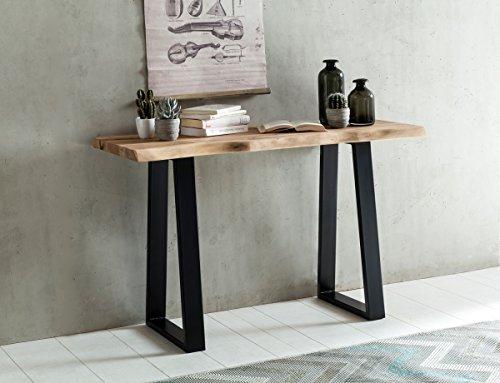 Konsolentisch Baumstamm Massivholz Konsole Akazie Sekretär 120 x 45 cm Baumkante Schreibtisch Landha