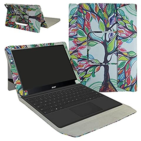 Acer Switch Alpha 12 Coque,Mama Mouth 2-in-1 Détachable PU Cuir debout Fonction Housse Coque Case Étui Couverture Pour 12