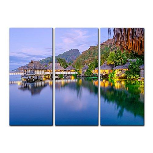 Kunstdruck - Wasserbungalows in französisch Polynesien - Bild auf Leinwand - 120x80 cm 3tlg. - Leinwandbilder - Bilder als Leinwanddruck - Wandbild von Bilderdepot24 Einfach Südlichen Baumwolle