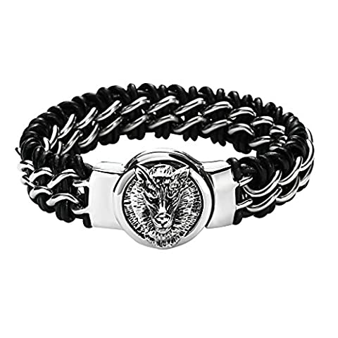 Gnzoe Hommes Acier inoxydable Noir Heavy Leather Braided Bracelet with Argent Animal Head 25.5x2.5CM