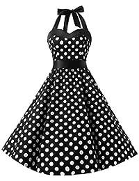 BaZhaHei Swing Vestito Donna Donne 1950 Audrey Hepbun Vintage Elegante  O-Collo Senza Maniche Abito 81be211f3d5