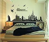 ufengke® Schwarze Stadt Silhouette Cityscape Wolkenkratzer Wandsticker, Wohnzimmer Schlafzimmer Abnehmbare Wandsticker/Aufkleber/Wanddekoration