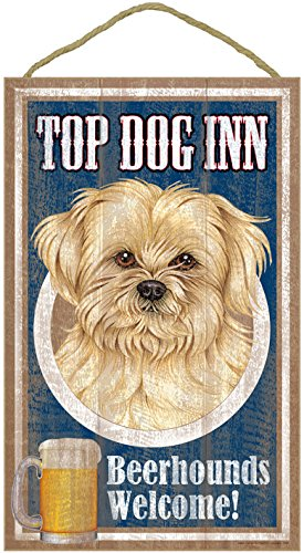 (sjt27944) Lhasa Apso, on the top Dog Inn 10 'x 16' wooden plaque, sign
