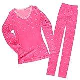 Baoblaze Fruaen Mädchen Thermounterwäsche Set Unterhemd Unterhose Warme Unterwäsche Set Leggings und Langarmshirt