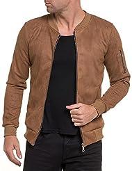 BLZ jeans - Blouson mi saison marron effet daim stylé zippé