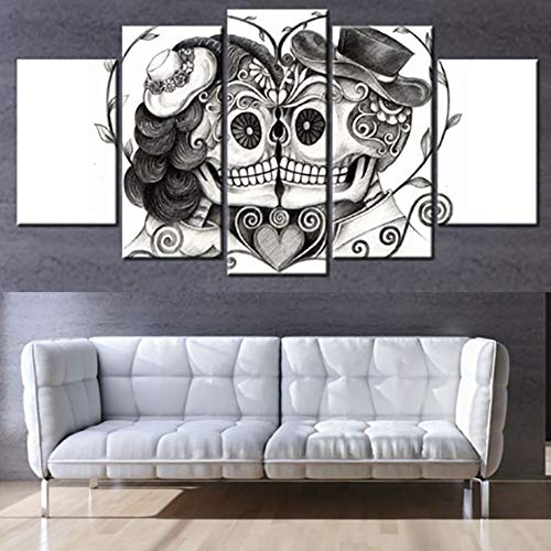 tion Poster Rahmen Wandkunst Bilder Home 5 Panel Tag Der Toten Gesicht Schädel Liebhaber Moderne Wohnzimmer HD Gedruckt Malerei-40x60cmx2 40x80cmx2 40x100cmx1 ()