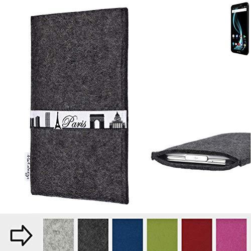 flat.design für Allview X4 Soul Infinity L Schutzhülle Handy Case Skyline mit Webband Paris - Maßanfertigung der Schutztasche Handy Hülle aus 100% Wollfilz (anthrazit) für Allview X4 Soul Infinity L