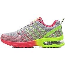 Zapatos de Running para Hombre Mujer Zapatillas Deportivo Outdoor Calzado Asfalto Sneakers Negro Rojo Gris 35