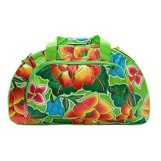 Bolsa de deporte – fitness – natacion – viaje, de hule, bolsa de mujer, impermeable, con motivo floral Tehuana verde