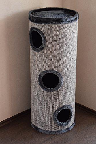 """Lemio - Kratzbaum """"Big Tub"""" Kratztonne - Katzentonne 100 cm - Katzenbaum Katzenkratzbaum Möbel für Katzen (grauer Plüsch)"""