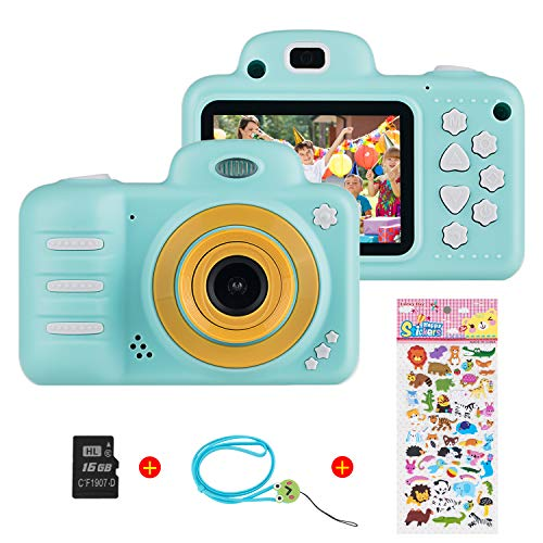 Vannico Kinder Digital Mini Kamera, Selfie Photo Kids Camera HD Kinderkamera 8 Megapixel, Wiederaufladbar Actionkameras Camcorder für Mädchen Jungen mit 16G SD Karte (Blau)