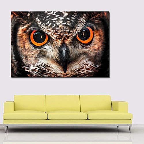 WSWWYGroße Augen der Eulen Malerei Poster und Drucke Tiere Wandkunst Leinwand Gemälde auf Leinwand gedruckt für Wohnzimmer Wohnkultur A 40x60cm No Frame