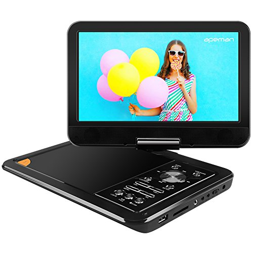 "APEMAN 9.5"" Portable DVD Player with Swivel Screen Built-in Rechargeable Battery SD Card and USB Supported Direct Play in Formats AVI/RMVB/MP3/JPEG (Black)"