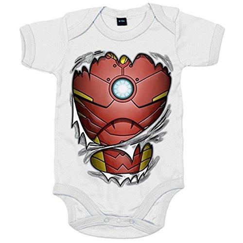 Body bebé Iron Man cuerpo - Blanco, 6-12 meses