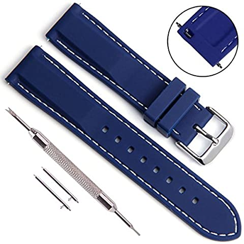 Quick Release Silicone Soft Rubber Watch Straps with Stainless Metal Clasp(18mm 20mm 22mm 24mm) (22mm, Navy
