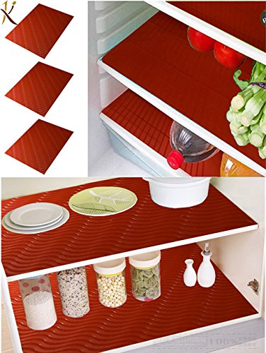 Kuber Industries PVC 6 Piece Refrigerator Drawer Place Mat Set - Red Place Mats at amazon