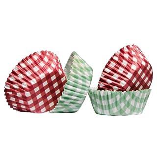 acropolebits percalle Gingham Design 60pcs Medium Cupcake-Förmchen aus fettdichtem Papier und attraktives Look