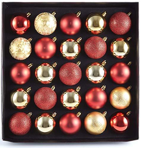 HEITMANN DECO 25er Set Christbaumkugeln 5,5 cm - Weihnachtsbaum Deko zum Aufhängen - Weihnachtskugeln Kunststoff - Rot Gold Glänzend