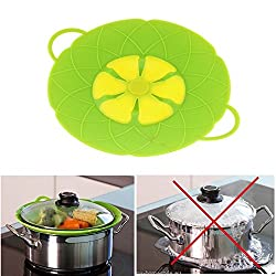 Fat-Lady Silicone Spill Stopper Splatter Guard For Pot/Pan Lids, Green