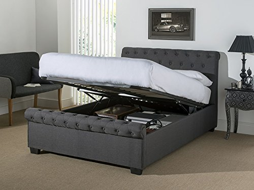Snuggle Beds Eleanor - Dark Grey Fabric 5FT Kingsize Ottoman Beds