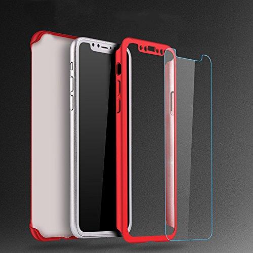 iPhone X Hülle,iPhone X 360 Grad Hülle,SainCat Hart PC Hülle mit Gehärtetes Glas Handyhülle für iPhone 8 Plus/7 Plus [Thin Fit 360] Komplettschutz Front + Back Rundum Double Beidseitiger Schutzhülle R Schwarz