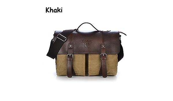 YZML Shoulder Bag Les hommes Sacs à main Messenger Bag Vintage solide toile Sacs de voyage pour hommes Messenger Bag marque toile kaki,Porte-documents