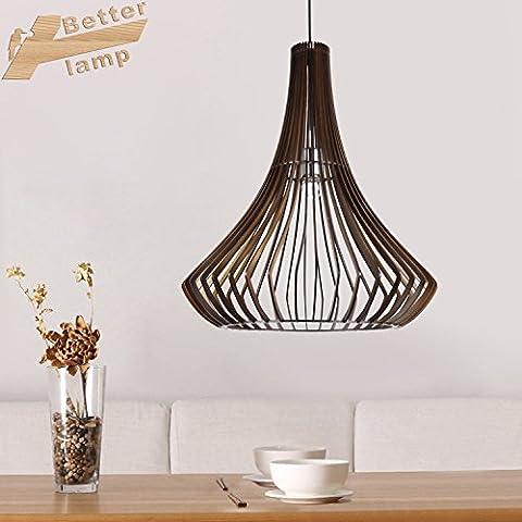 CHJK BRIHT Il sud-est asiatico in legno moderno arts illumina Ciondolo nuovi cinesi creative lampada in legno camera da letto ristorante lampade lampadario cucina giapponese