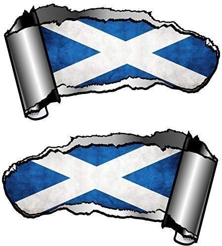 Klein Hand Paar Neuheit Torn Zerrissene öffnen Gash Metall Effekt Auto Aufkleber Aufkleber zu enthüllen Schottland schottischen Flagge Design 93x 50mm jeder