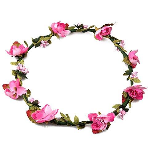 Damen Mädchen Boho Blume Stirnbänder, Tukistore Braut Haar Kranz Halo Blumengirlande Krone Kopfschmuck für Festival Hochzeit (Halo Haar)