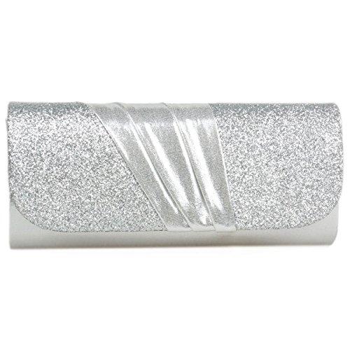 Damara® Elegnat Damen Satin Exquist Magnet Handtaschen Mit Pailletten Silber