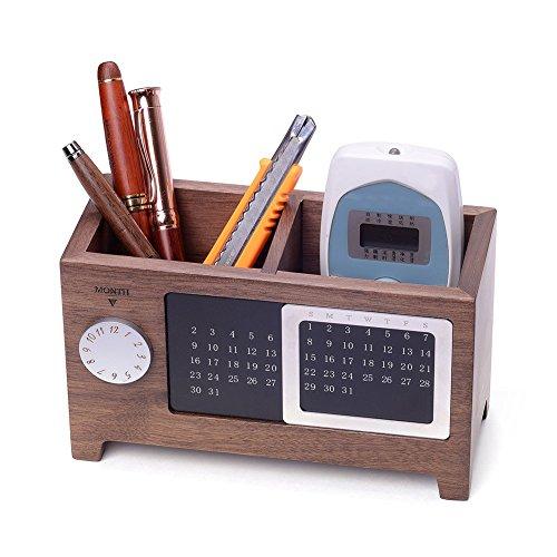 Artinova, portapenne e cancelleria in legno per ufficio con calendario per la scrivania arta-0006 walnut