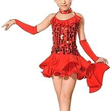 Feoya - Vestido de Danza Latina para Niñas Traje Dsifraces para Baile Deportivo de Salón con Lentejuelas Volante